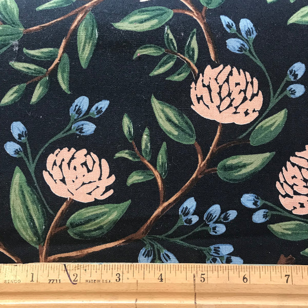 Canvas-Wildwood Peonies in Black by Rifle