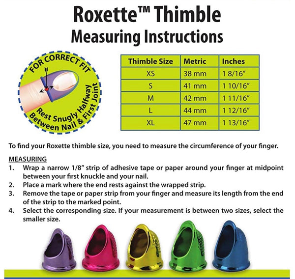 Roxette Thimbles Multiple Sizes
