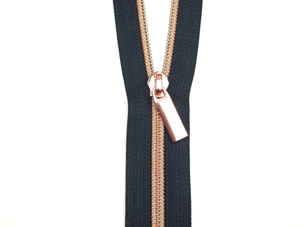 Zipper Tape Navy Rose Gold