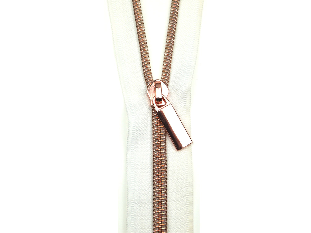 Zipper Tape White Rose Gold
