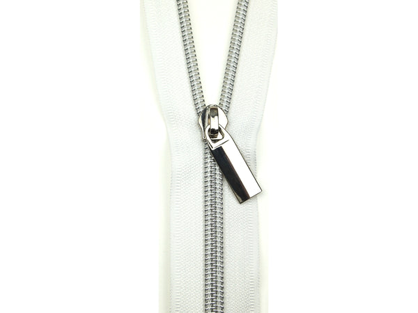 Zipper Tape White Silver
