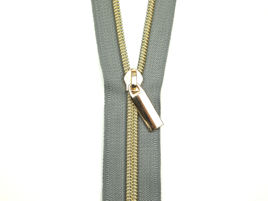 Zipper Tape Grey Gold
