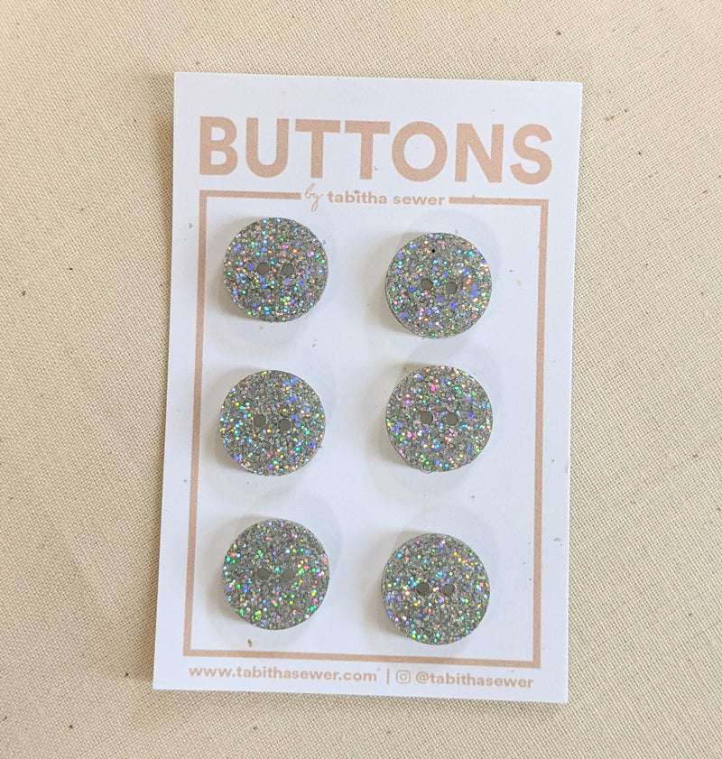 Holographic Glitter Circle Buttons .59""