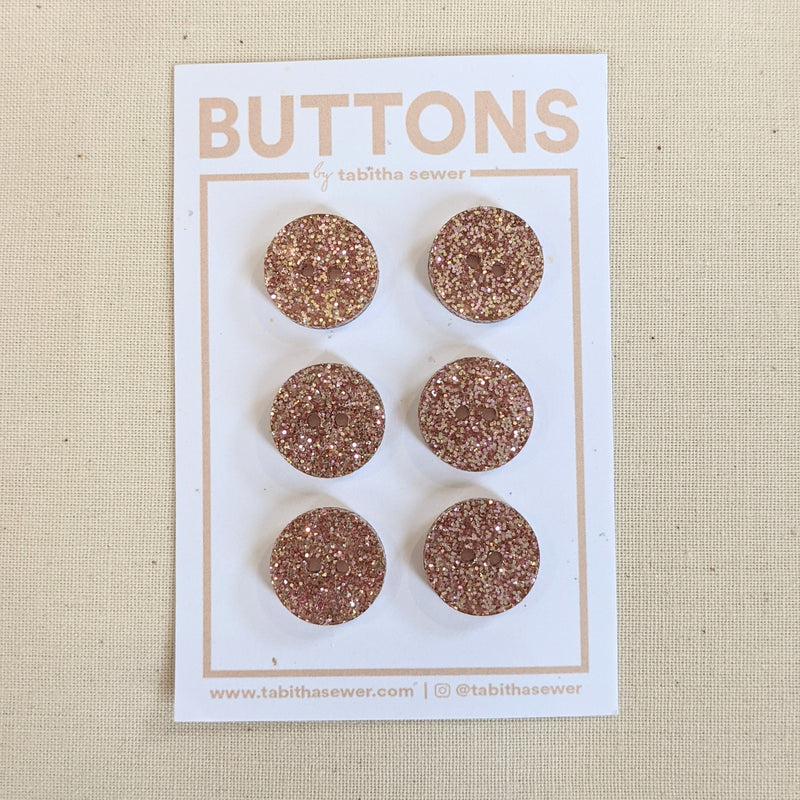 Rose Gold Sparkle Circle Buttons .59""