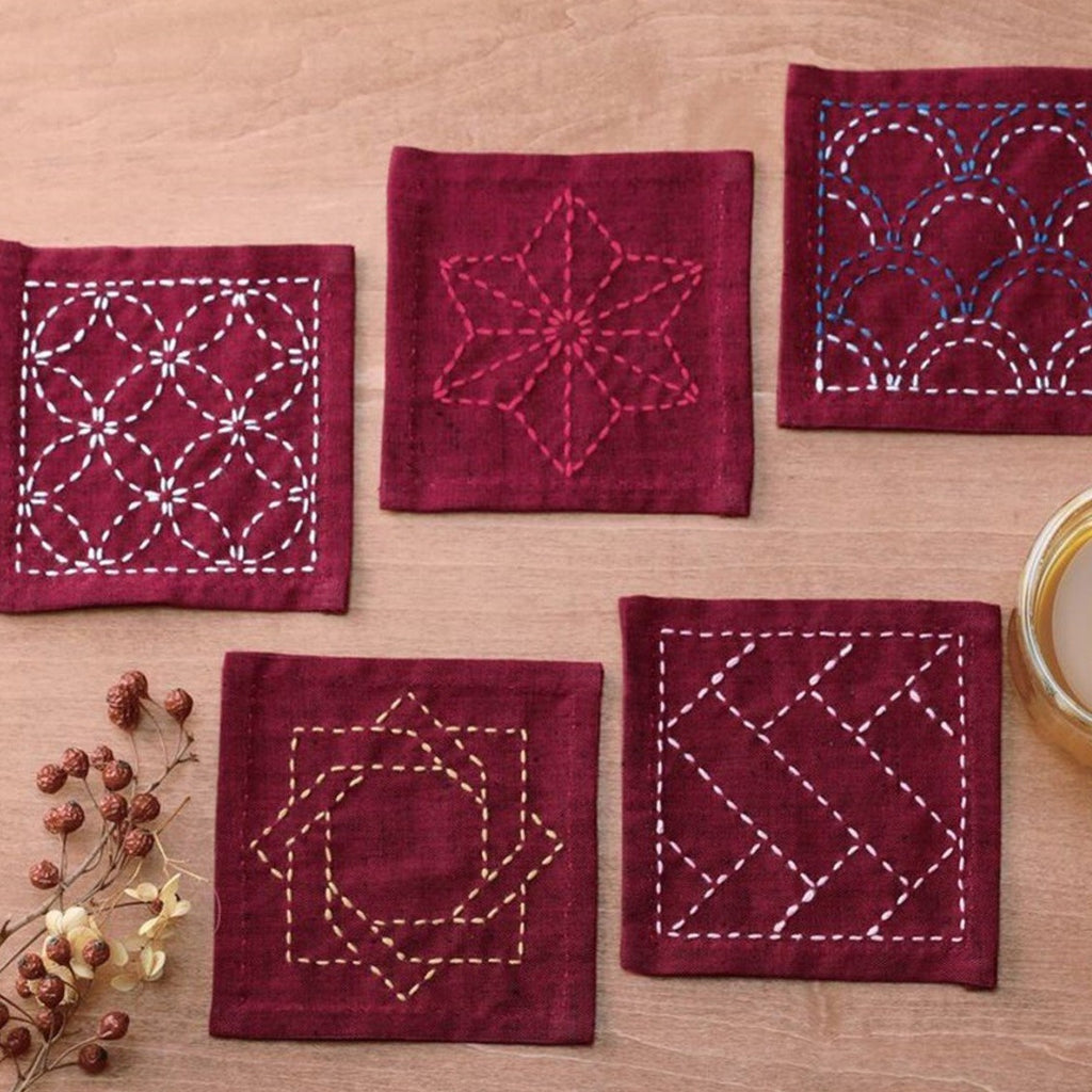 Sashiko Tsumugi Sampler Coasters in Deep Red