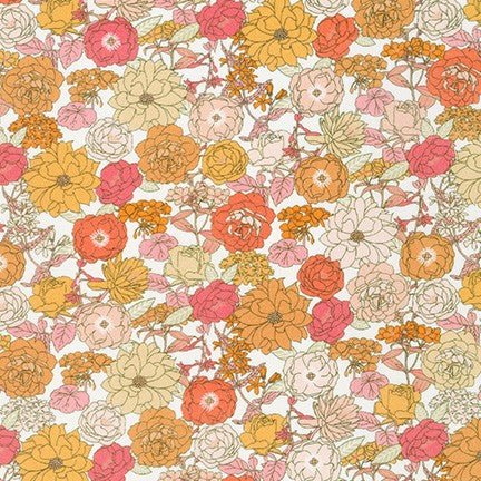Cotton Lawn - Creamsicle Floral