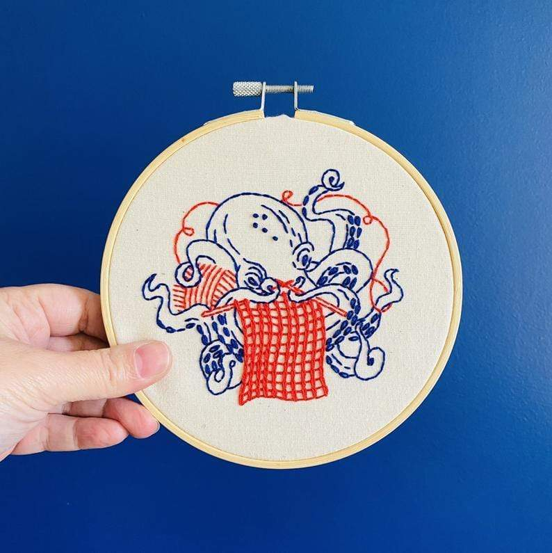 Embroidery Kit: Industrious Octopus