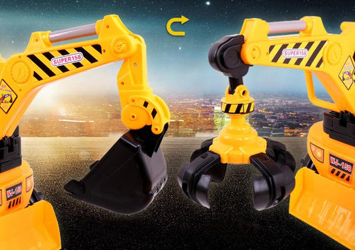 RICCO® 2 in 1 Ride On Toy Digger Excavator Grabber Bulldozer with Helmet W007 - GADGET EXPRESS®