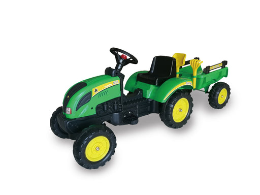 Foot Pedal Tractor Ride On with Trailer and Tools ( Model: B1001) Green - GADGET EXPRESS®