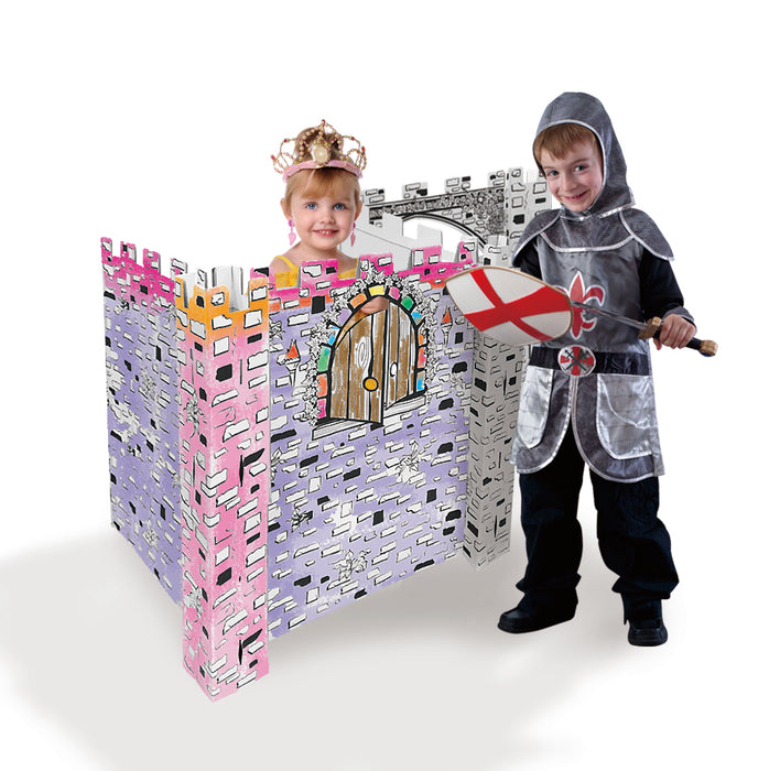 Ricco Kids 3D Cardboard Playhouse for Craft Colouring and Pretended Play (Little Castle)