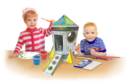 Kids 3D Cardboard Craft Colouring Mini Playhouse (Mini Rocket)