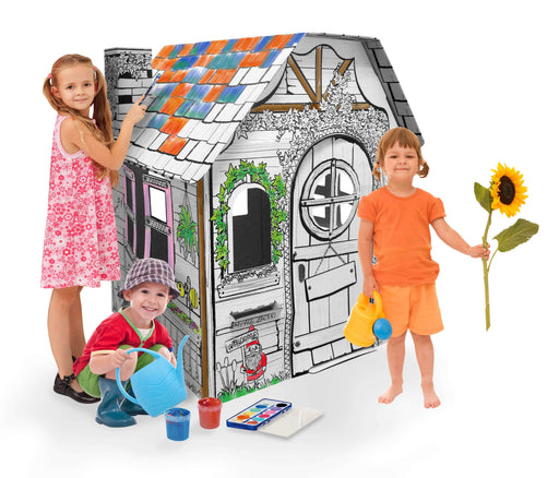 Kids 3D Garden House Cardboard Playhouse for Colouring and Pretend Play - GADGET EXPRESS®