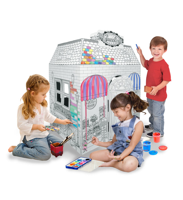 Ricco Kids 3D Cardboard Playhouse for Craft Colouring and Pretended Play (My Sweet Shop)