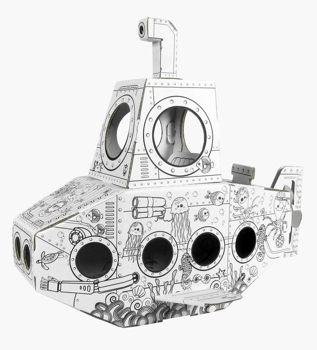 Kids 3D Mini Submarine Cardboard Playhouse for Colouring and Craft Works - GADGET EXPRESS®