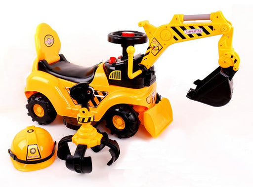 RICCO® 2 in 1 Ride On Toy Digger Excavator Grabber Bulldozer with Helmet W007