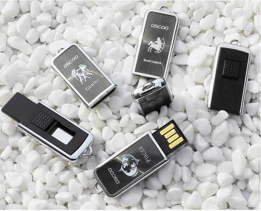 16GB Mini Polished Metal Sliding USB Flash Pen Drive Memory Stick