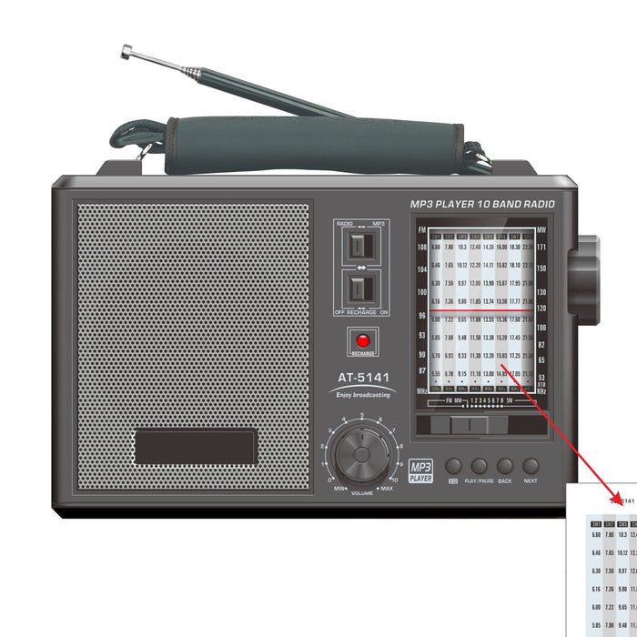 Portable 10 Band Radio FM MW SW 1-6 SD USB MP3 Input - R5141 - GADGET EXPRESS®