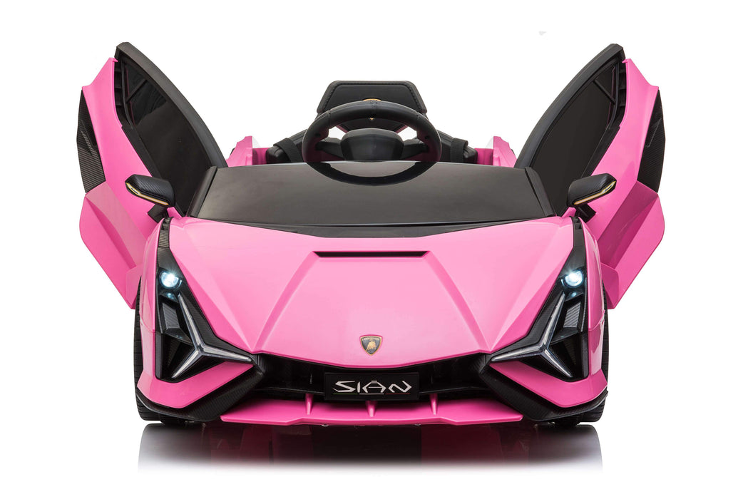 RICCO® 12V Lamborghini SIAN Licensed Battery Powered Kids Electric Ride On Toy Car (Model: QR6388) (Pink)