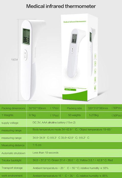Infrared Non-Contact Thermometer Forehead Body Surface Temperature Scanner EW-01