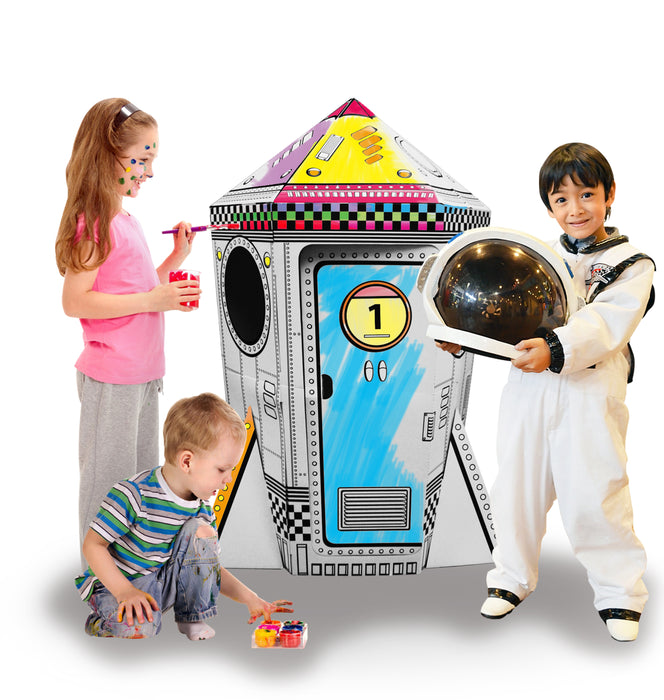 Kids 3D Cardboard Playhouse for Craft Colouring and Pretended Play (Rocket)