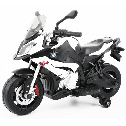 BMW S1000XR Licenced 12V 7A  Battery Powered Kids Electric Ride On Toy Motorcycle Road Bike (RS87700 WHITE) - GADGET EXPRESS®
