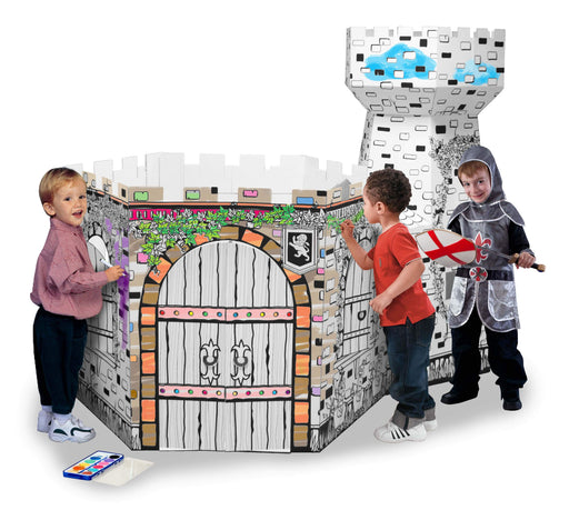 Kids 3D Castle Tower Cardboard Playhouse for Colouring and Pretend Play - GADGET EXPRESS®