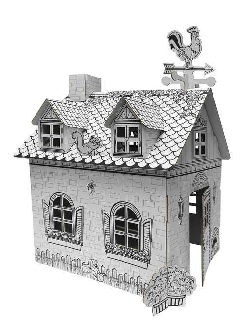 Kids 3D Mini Rural House Cardboard Playhouse for Colouring and Craft Works - GADGET EXPRESS®