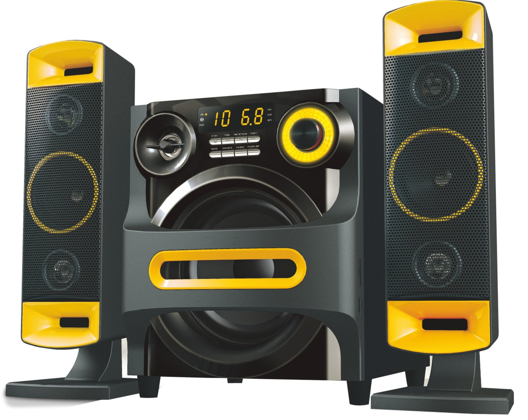 2.1 Channel Bluetooth Speaker 70W RMS AUX FM SD USB Input Remote Control - T8260 - GADGET EXPRESS®