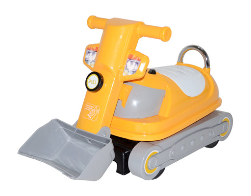 Kids 360 Degrees Rotating Ride On Bulldozer Manual Push Along Toy with Under Seat Compartment Storage (WJ070 Yellow) - GADGET EXPRESS®