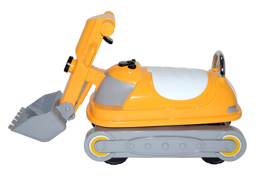 Kids 360 Degrees Rotating Ride On Bulldozer Manual Push Along Toy with Under Seat Compartment Storage (WJ070 Yellow)