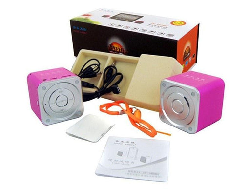 MD06C PAIR OF CUBE Aluminium Portable Travel Speaker MP3 Player AUX Line-in Laptop