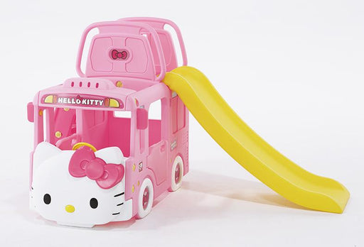 Ricco Y1601 HELLO KITTY BUS 3-in-1 Indoor/Outdoor Bus Climb and Slide Kids/Toddler/Nursery Activity Role Play Centre with Door and Saddle, Pink - GADGET EXPRESS®