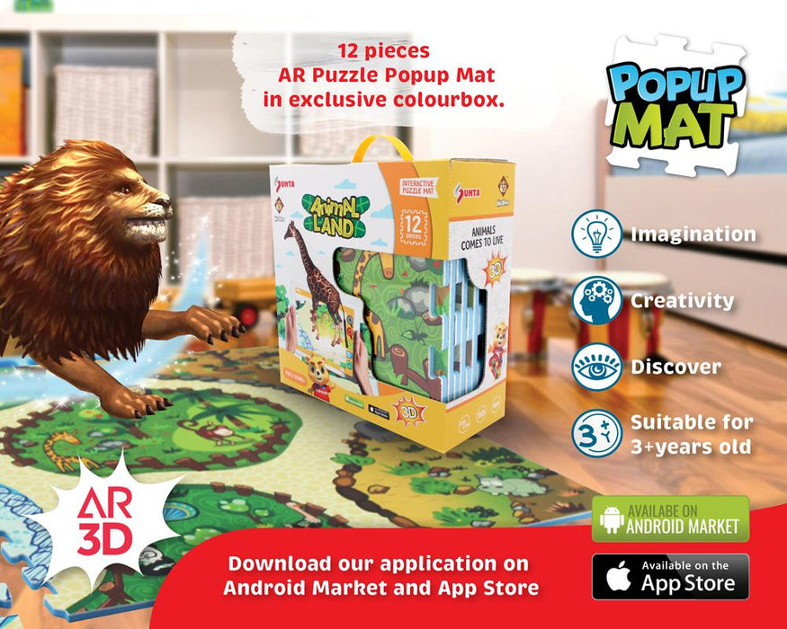 3D Interactive AR Popup EVA Puzzle Mat- SNB001 ANIMAL LAND