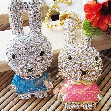 8GB BUNNY Jewellery Swarovski Elements USB 2.0 Flash Drive Memory Stick - GADGET EXPRESS®