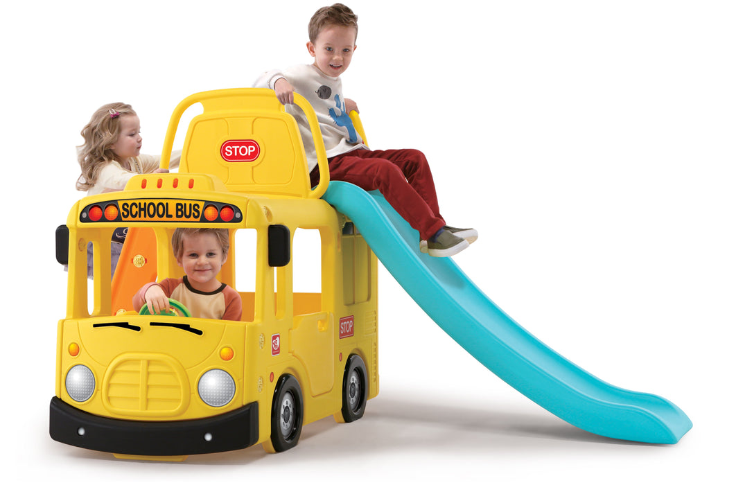 Ricco Y1602 YELLOW BUS 3-in-1 Indoor/Outdoor Bus Climb and Slide Kids/Toddler/Nursery Activity Role Play Centre with Door and Saddle, Yellow - GADGET EXPRESS®