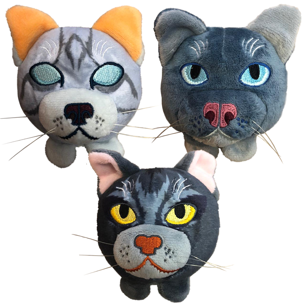 Mini-Plush Head Bundle - Jayfeather / Graystripe / Mistystar - in stock