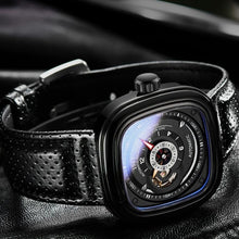 Load image into Gallery viewer, Luxury Brand Men Mechanical Watch Alloy Pin Buckle Stainless Steel Watch Tourbillon Fashion Trend Square Leather Men's Watch