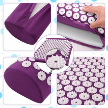 Laden Sie das Bild in den Galerie-Viewer, Yoga Spike Acupressure Mat Pillow Set Relieve Stress Tension Pain Acupuncture Cushion Mat w/ Carry Bag Drop Shipping