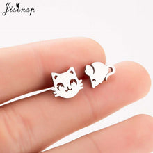 Load image into Gallery viewer, Jisensp Fashion Lovely Cat and Mouse Earrings for Women Everyday Jewellery Cartoon Mouse Stud Earrings Animal Jewelry Gifts - My eTech
