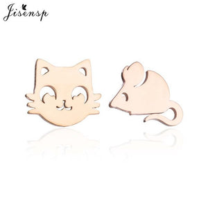Jisensp Fashion Lovely Cat and Mouse Earrings for Women Everyday Jewellery Cartoon Mouse Stud Earrings Animal Jewelry Gifts - My eTech