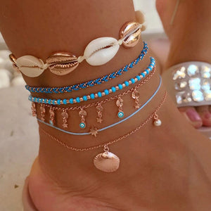 Bohemian Gold Color Seashell Anklet - My eTech