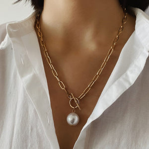 Big Bead  Pearl Pendant Necklace - My eTech