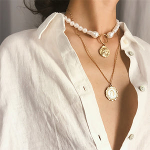 Multilayer White Pearl Choker Necklace - My eTech