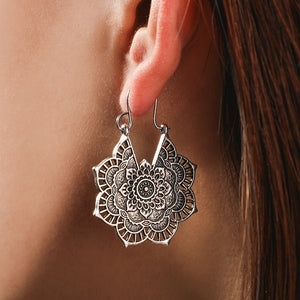 Vintage Mandala Flower Drop  Earrings - My eTech