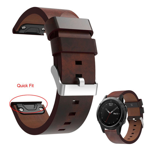 Leather  Watch Band with Quick Fit for Garmin Watches - My eTech