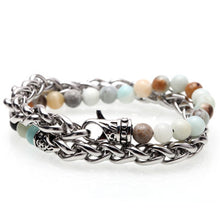 Load image into Gallery viewer, Stone beads bracelets stainless steel link - My eTech