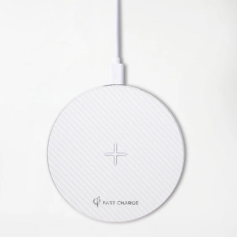 Aluminum Wireless Charging Pad with QC 3.0 Wall Charger - White