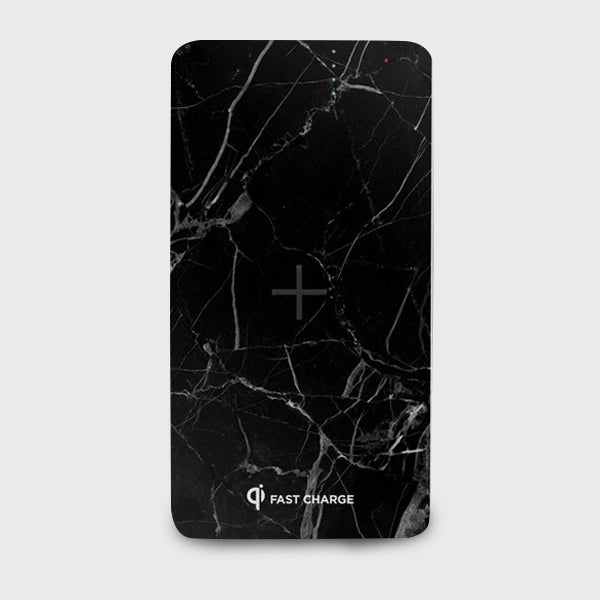 8000mah Marble Wireless Charging Power Bank - Black