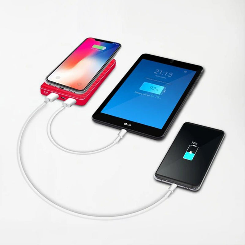 8000mAh Wireless Charging Power Bank - Red