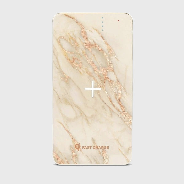 8000mah Marble Wireless Charging Power Bank - Gold